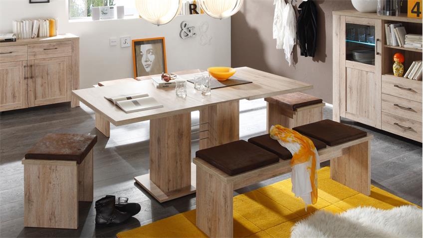 Esstisch PAULO Wildeiche Trüffel Tisch ausziehbar 140-180