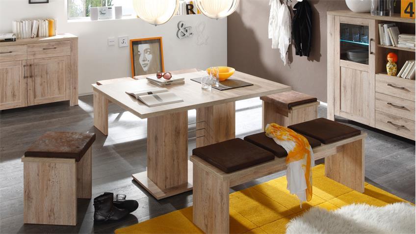 Esstisch PAULO Eiche sägerau Tisch ausziehbar 140-180