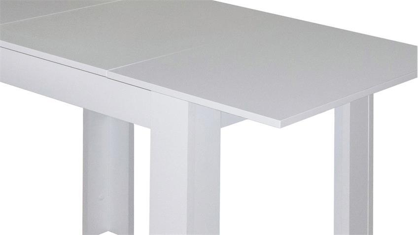 Esstisch BULL Küchentisch in weiß matt ausziehbar 80x60 cm