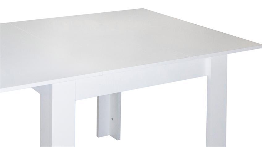 esstisch bull k chentisch in wei matt ausziehbar 80x80 cm. Black Bedroom Furniture Sets. Home Design Ideas