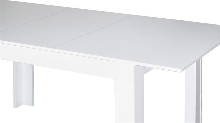 Esstisch BULL Küchentisch in weiß matt ausziehbar 120x80