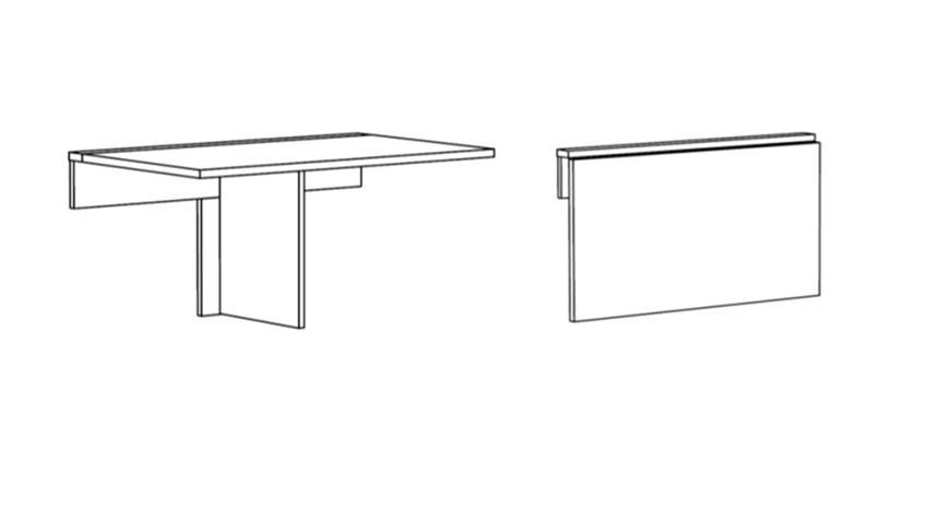 Klapptisch KLAPPI Wandtisch Eiche sägerau Küche Tisch eckig