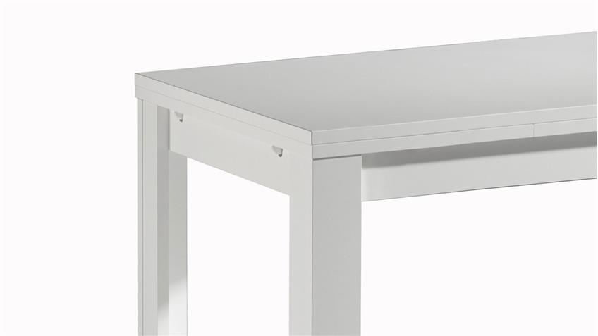 Esstisch MONSA weiß matt Lack Tisch ausziehbar 160x90 cm