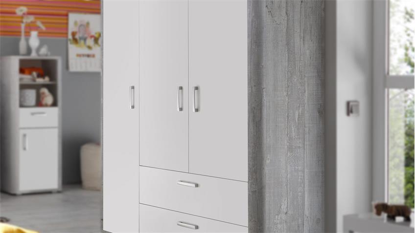 Kleiderschrank Babyzimmer FRIEDA Vintage wood grey weiß matt lackiert