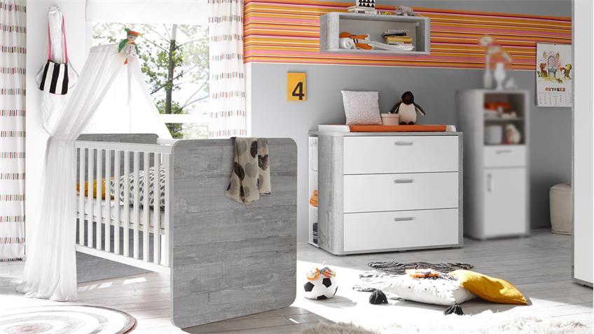 Babyzimmer FRIEDA 4-tlg Wickelkommode Babybett Vintage wood grey weiß matt lackiert