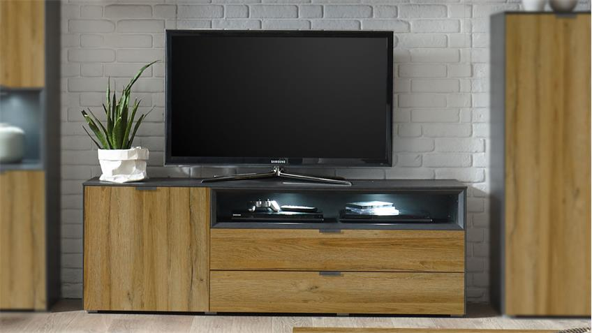 Lowboard Dallas TV-Board in anthrazit grandson oak
