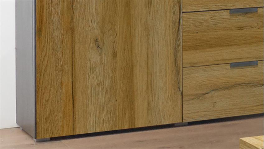 Sideboard Dallas anthrazit grandson oak 2 Türen 3 Schubkästen