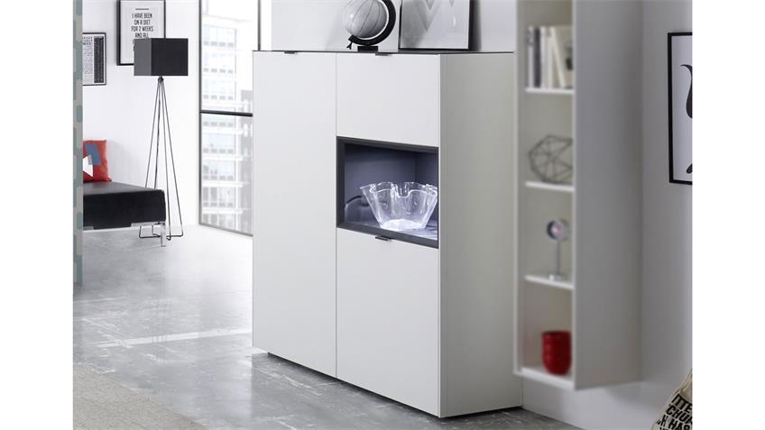 Esszimmer Set Micelli 5tlg in weiß matt lack anthrazit