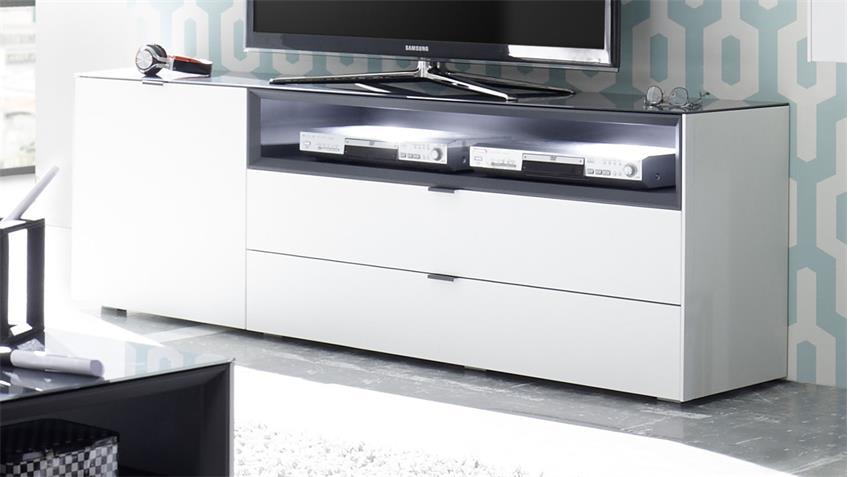 Wohnwand Micelli 4tlg weiß matt lack anthrazit mit Highboard