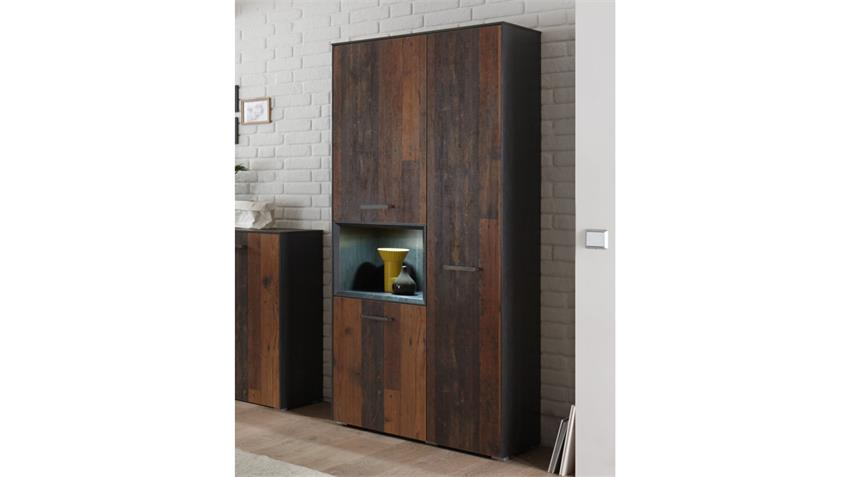 Hochschrank Texas Schrank in anthrazit texas oak