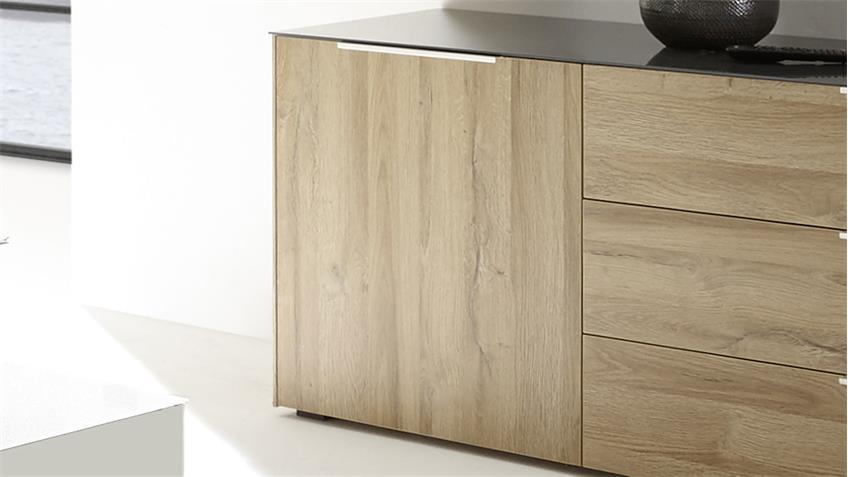 Lowboard Mix Box Oberplatte Glas anthrazit grandson oak