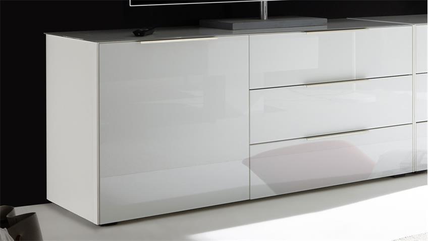 Lowboard Mix Box in Glas weiß 139 cm 3 Schubkästen