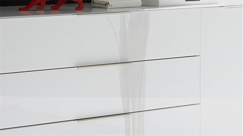 Lowboard Mix Box Glas weiß 177 cm mit 3 Schubkästen