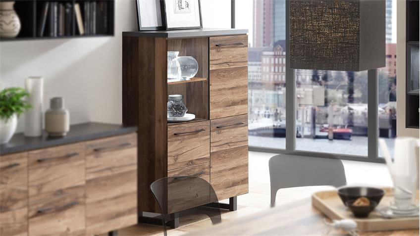 Highboard Castell 2.0 in plankeneiche und anthrazit