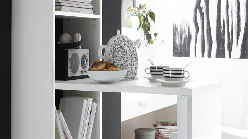 Tresentisch Köln in weiß matt mit Regal Tisch