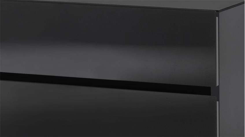 Nachtschrank Color schwarz matt und Glas 2 Schubkästen