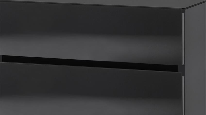 Nachttisch Color in schwarz matt Glas mit 3 Schubkästen