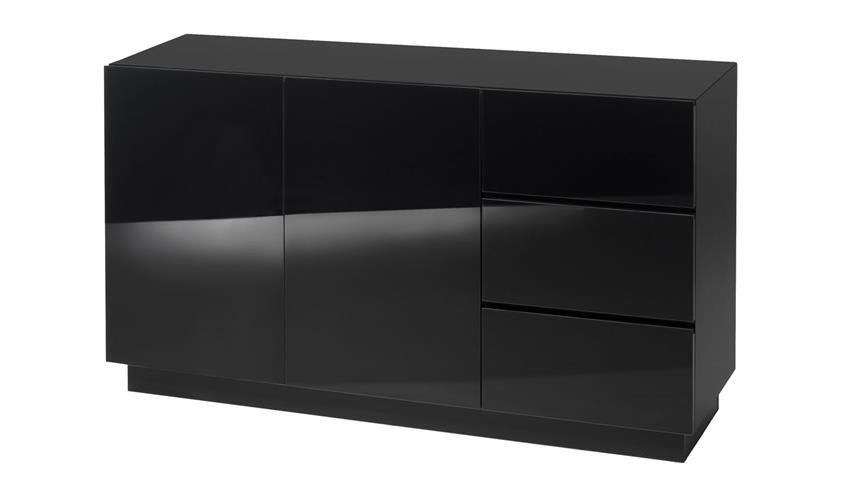 Kommode color anrichte in schwarz matt und glas - Kommode schwarz matt ...