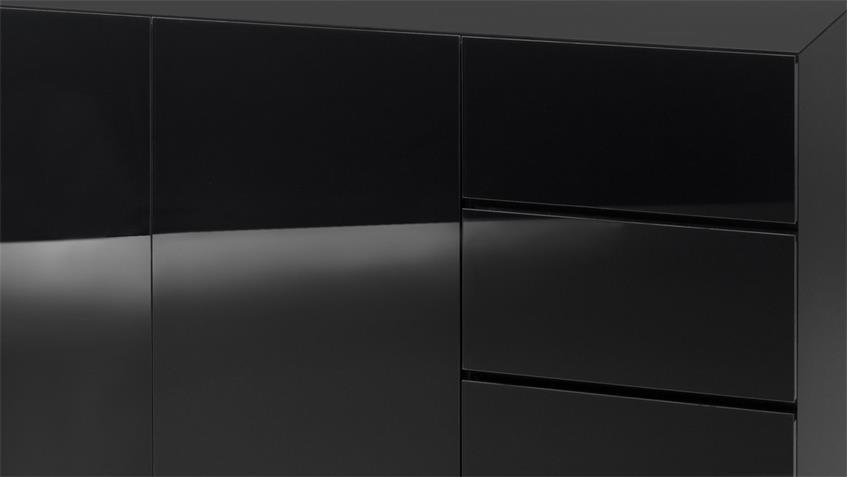 Kommode Color Anrichte in schwarz matt und Glas
