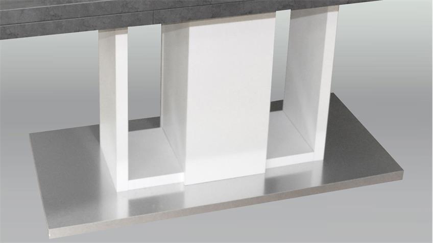 Esstisch Komfort Graphit weiß edelstahloptik 160 cm ausziehbar