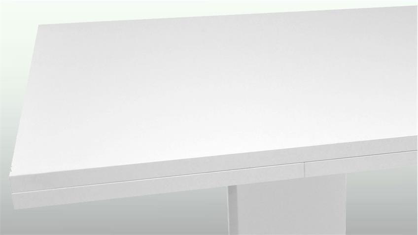 Esstisch Komfort weiß matt lack edelstahloptik 160 cm ausziehbar