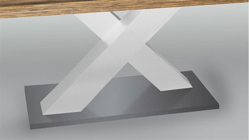 Esstisch Komfort Eiche weiß edelstahloptik 180 cm ausziehbar