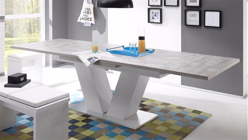 Esstisch Komfort Beton weiß edelstahloptik 180 cm ausziehbar