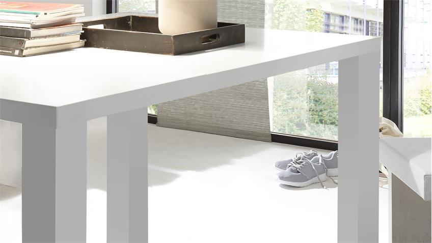 Esstisch Boston in weiß matt lack 160x90 cm