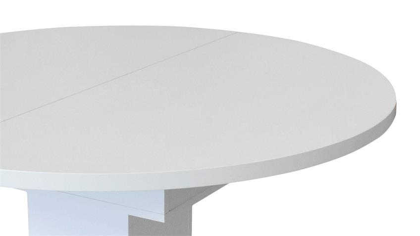 Esstisch PROWLER weiß matt inkl. Synchronauszug 120-160