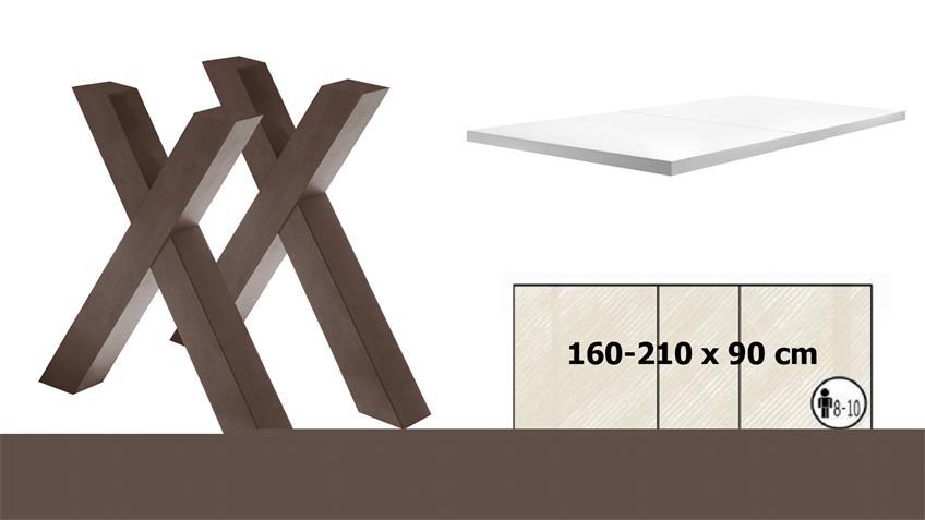 Esstisch MISTER X rost weiß Lack ausziehbar 160-210x90 cm