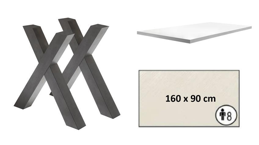 Esstisch MISTER X Tischsystem graphit weiß Lack 160x90 cm