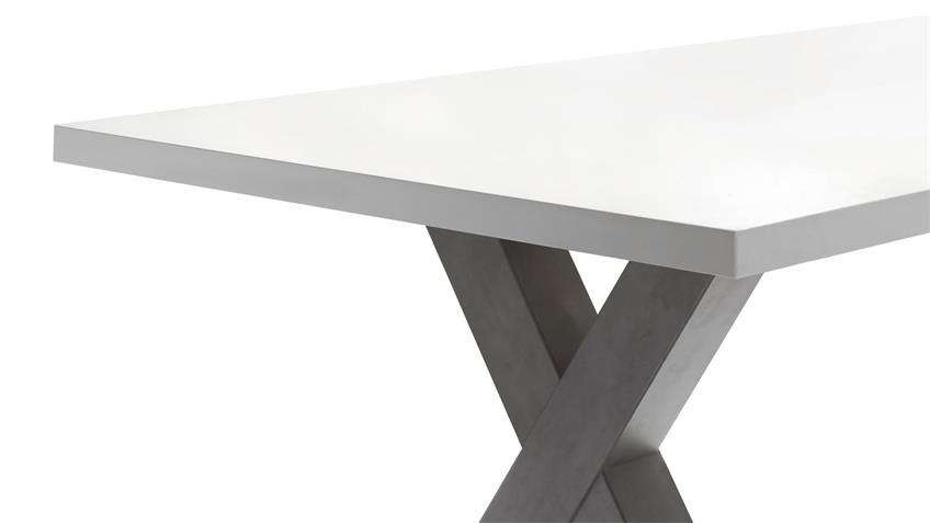 Esstisch MISTER X Tischsystem graphit weiß Lack 180x90 cm