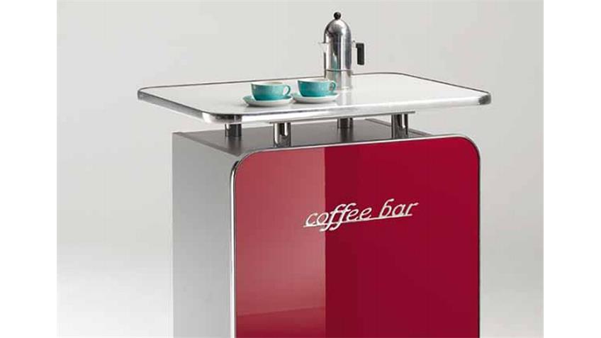 Kaffeebar COFFEE BAR rot Hochglanz matt silber Milchglas