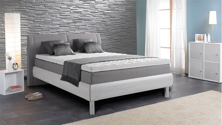 boxspringbett henning stoff grau san remo eiche wei 180x200 cm. Black Bedroom Furniture Sets. Home Design Ideas