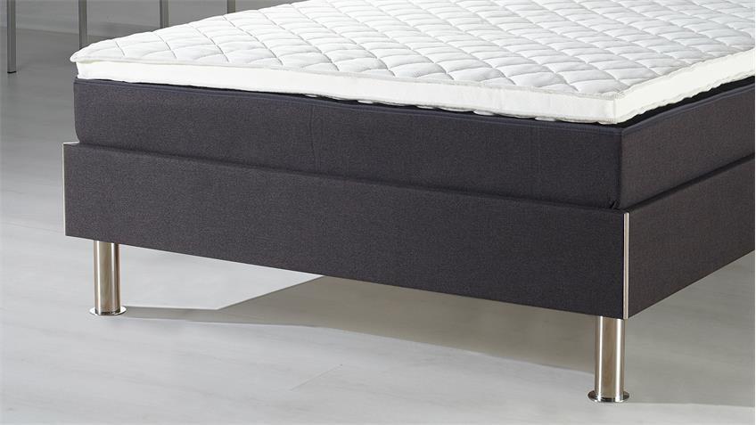 Boxspringbett RAMONA anthrazit inkl. Topper 180x200 cm