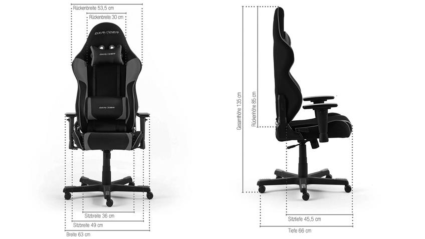 Bürosessel Game Chair DX RACER R2 Bürostuhl schwarz grau
