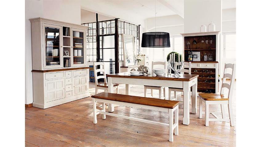 Regal Bodde Bücherregal in Kiefer massiv in Weiß und Honig