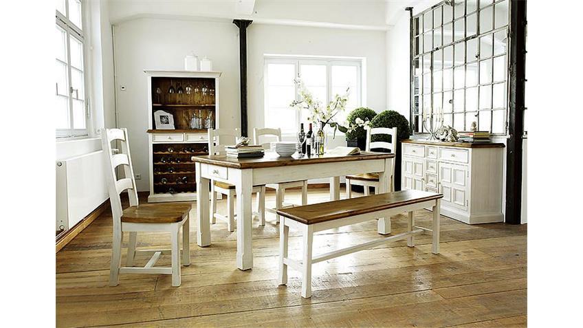 Buffet BODDE Weinschrank Kiefer massiv Weiß/Honig