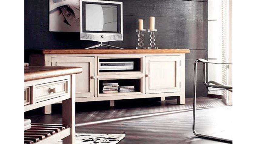 tv board bodde landhaus lowboard in kiefer massiv wei und honig. Black Bedroom Furniture Sets. Home Design Ideas