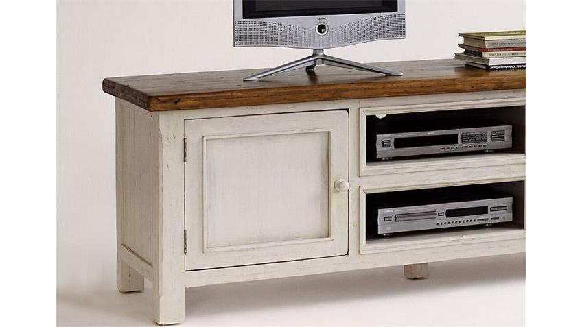 TV Board BODDE Lowboard in Kiefer massiv weiß und Honig