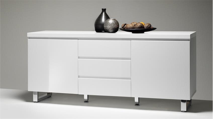 Sideboard SYDNEY in weiß Hochglanz lackiert mit 2 Türen 3 Schubkästen