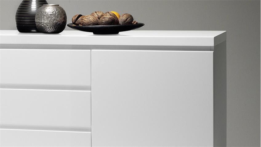 Sideboard Sydney in weiß Hochglanz lackiert 2-türig mit Schubkästen