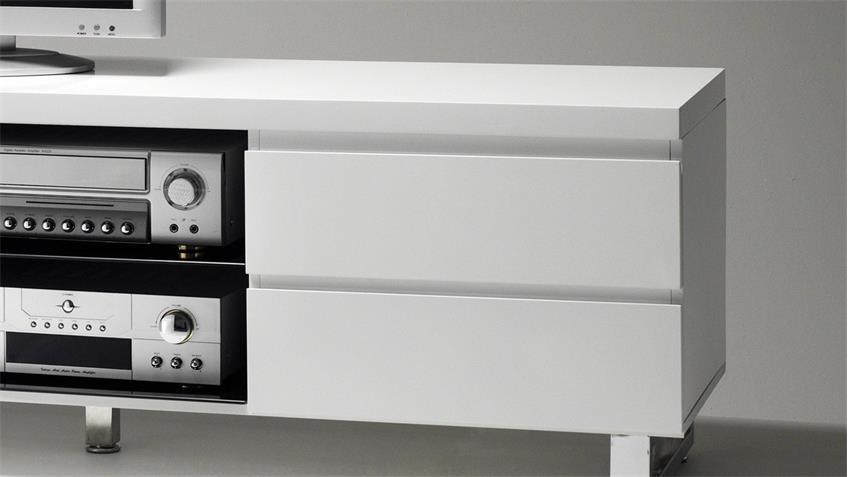 Lowboard SYDNEY in weiß Hochglanz lackiert mit 4 Schubkästen