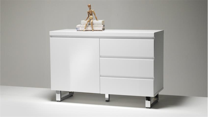 Sideboard SYDNEY in weiß Hochglanz lackiert mit 1 Tür 3 Schubkästen