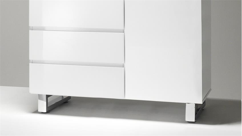 Kommode SYDNEY in weiß Hochglanz lackiert mit 2 Türen 3 Schubkästen