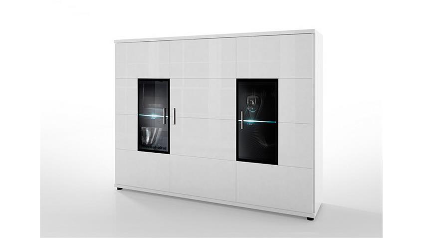 Highboard CORANO T15 Kommode Wohnzimmer in hochglanz weiß