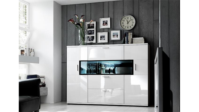 Highboard CORANO T14 Kommode Wohnzimmer in hochglanz weiß