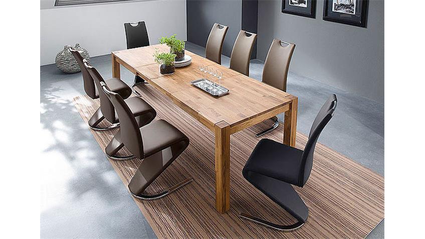 Tischgruppe NESTA AMADO Esstisch Kernbuche massiv 6x Stühle