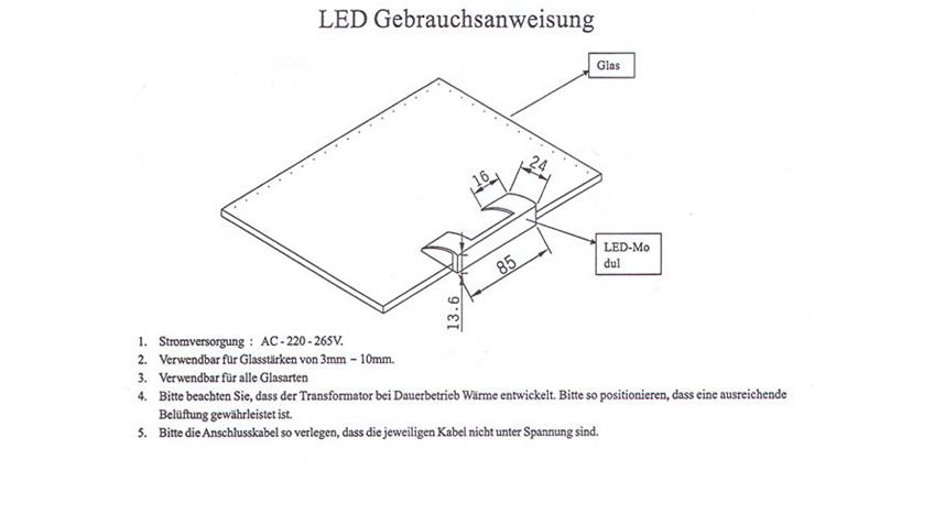 LED-Glaskantenbeleuchtung 4-er Set Blau
