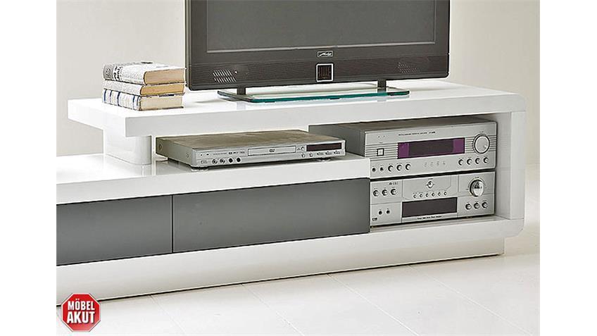 TV Board CELSOR Weiß/Grau Lack Hochglanz